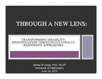 Picture: Powerpoint cover for Through a New Lens by Dr. Janine Jones, June 18, 2015