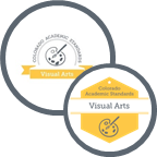 Graphic showing both the 2009 and 2020 logos for visual arts