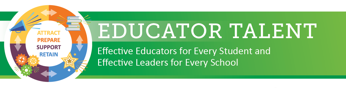 Educator Talent: Effective Educators for Every Student and Effective Leaders for Every School.  Circular icon with Attract represented as a Megaphone, Prepare represented with a Stack of Books, Support represented with Gears Turning and Retain represented with a Shooting Star.