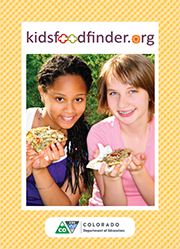 Postcard front: kidsfoodfinder.org two tennage girls eating pizza outside.