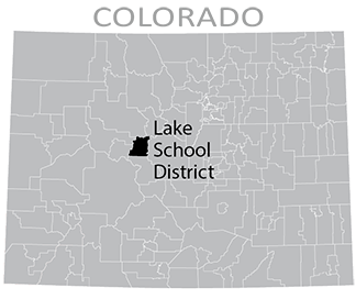 Colorado map showing Lake County School District