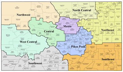 Map of Colorado Education Regions